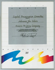 "Silver Award presented Sowers Printing for ""Advance the Colors,"" 1988"
