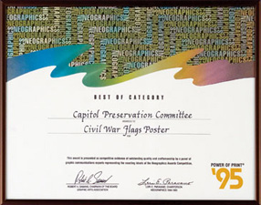 Best of Category Award presented by NeoGraphics for poster of PA Civil War Flags, 1995