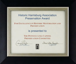 Preservation Award for Excellence in Historic Restoration and Preservation presented by Historic Harrisburg Association, 2006