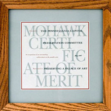 "Certificate of Merit for ""Preserving A Palace of Art,"" presented by Mohawk, May 1997"
