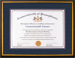 Commonwealth Treasure Award presented by Pennsylvania Historical and Museum Commission, November 1998