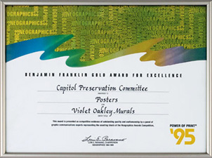 Benjamin Franklin Gold Award for Excellence presented by NeoGraphics for poster of Violet Oakley Murals, 1995