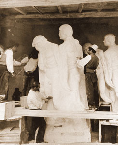 PICCIRILLI BROTHERS CARVING THE BARNARD STATUARY, CA. 1907