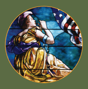 LIBERTY STAINED GLASS WINDOW