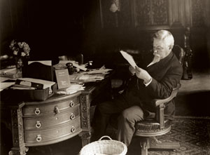 GOVERNOR PENNYPACKER IN HIS OFFICE AT THE PENNSYLVANIA CAPITOL, 1906