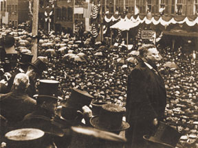 PRESIDENT ROOSEVELT  ADDRESSING THE CROWD
