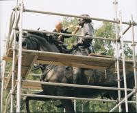 A TINTED HOT WAX IS APPLIED TO THE HARTRANFT MEMORIAL USING A BLOWTORCH